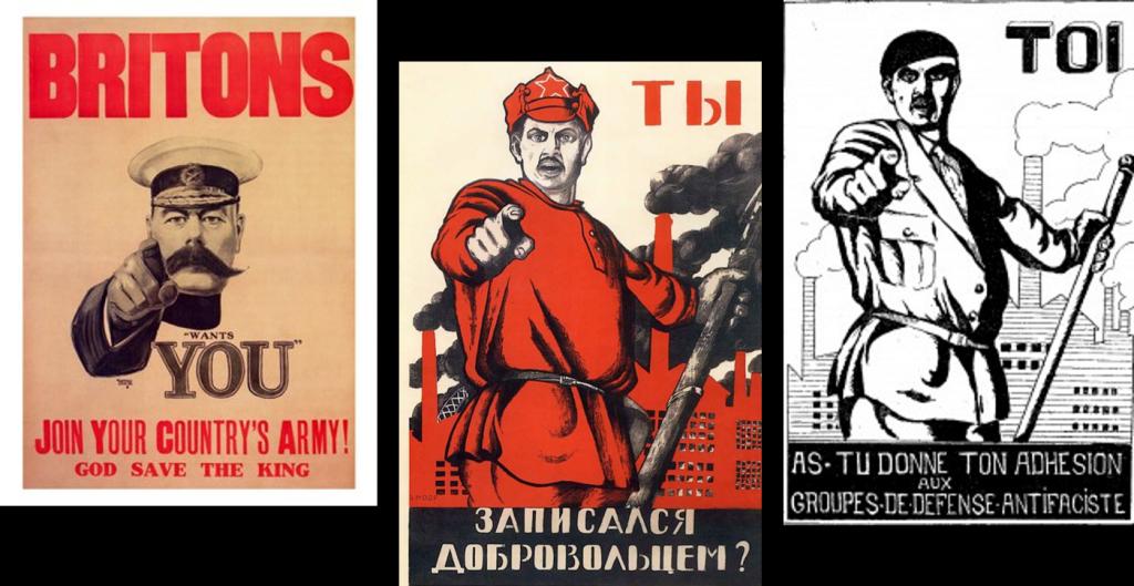 En octobre 1914, Alfred Leete publie dans le London Opinion une très célèbre affiche de Kitchener destinée à soutenir l'effort de mobilisation volontaire britannique. Cette affiche a été dupliquée ensuite par le peintre soviétique Mikhaïl Cheremnykh en 1919, puis par Dimitri Moor en 1937. Elle sera même reprise par les Groupes de défense antifascistes en France en 1926.